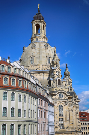 frauenkirche: Neumarkt Square at Frauenkirche (Our Lady church) in the center of Old town in Dresden, Germany