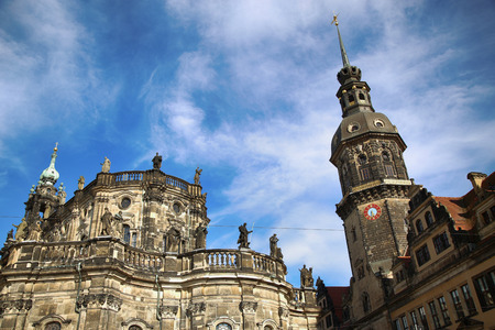 Saxony Dresden Castle and Katholische Hofkirche in Dresden, State of Saxony, Germany