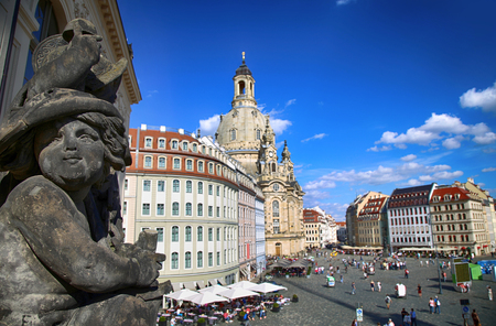 Neumarkt Square at Frauenkirche (Our Lady church) in the center of Old town in Dresden, Germany