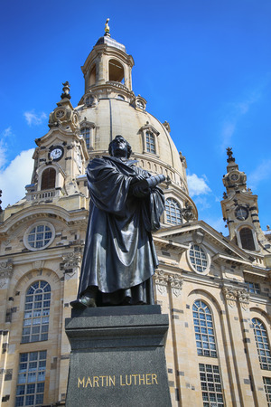 Frauenkirche (Our Lady church) and statue Martin Luther in the center of old town in Dresden, Germany