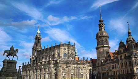 Theaterplatz, Saxony Dresden Castle and Katholische Hofkirche in Dresden, State of Saxony, Germany