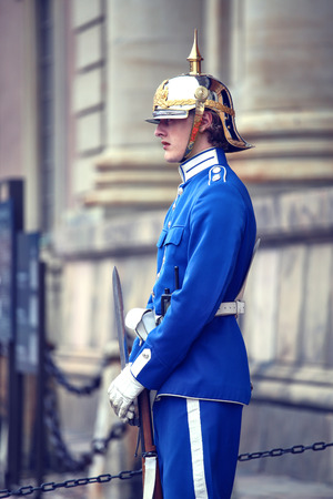 STOCKHOLM, SWEDEN - AUGUST 20, 2016: Swedish Royal Guards of honor in blue uniforms near the Royal Palace in Stockholm, Sweden on August 20, 2016. Editorial