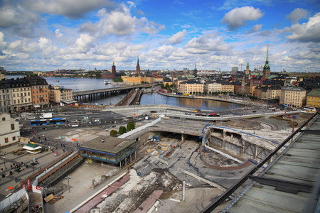 STOCKHOLM, SWEDEN - AUGUST 20, 2016: Aerial view of Stockholm from Great lookout point Katarinahissen (Katarina Elevator) and construction in progress in Stockholm, Sweden on August 20, 2016.