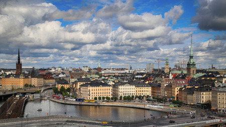 katarina: STOCKHOLM, SWEDEN - AUGUST 20, 2016: Aerial view of Stockholm from Great lookout point Katarinahissen built 1883. (Katarina Elevator) in Stockholm, Sweden on August 20, 2016.