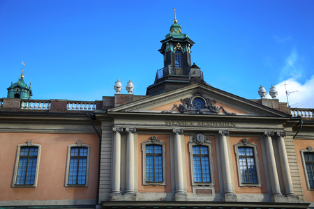 STOCKHOLM, SWEDEN - AUGUST 19, 2016: The Swedish Academy and Nobel Museum located on Stortorget square, Gamla Stan in Stockholm, Sweden on August 19, 2016.