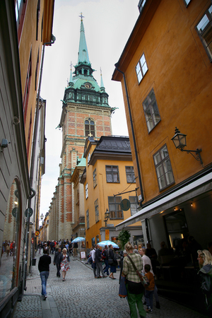 st german: STOCKHOLM, SWEDEN - AUGUST 19, 2016: View on St. Gertrudes Church - Tyska Kyrkan (Old German Church) located in Gamla Stan, old town in central Stockholm, Sweden on August 19, 2016.