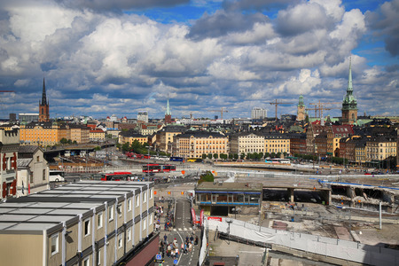 katarina: STOCKHOLM, SWEDEN - AUGUST 20, 2016: Aerial view of Stockholm from Great lookout point Katarinahissen (Katarina Elevator) and construction in progress in Stockholm, Sweden on August 20, 2016.