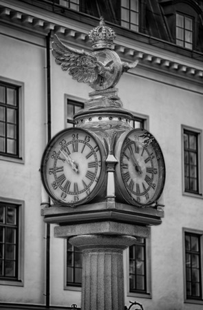 Klocka Central Plan, Clock with Crown next to the central train station in Stockholm, Sweden   Stock Photo