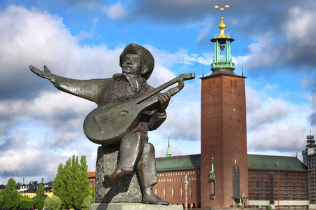 Evert Taube monument on Gamla and City Hall Stan in Stockholm, Sweden