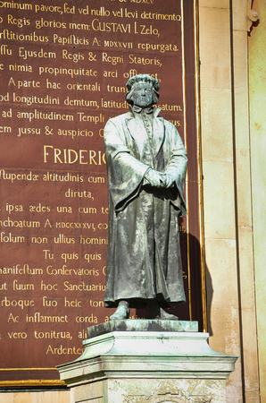theodor: STOCKHOLM, SWEDEN - AUGUST 19, 2016: Statue of the writer Olaus Petri in Storkyrkan on Gamla stan, statue by the Swedish sculptor Theodor Lundberg in 1898. in Stockholm, Sweden on August 19, 2016. Editorial