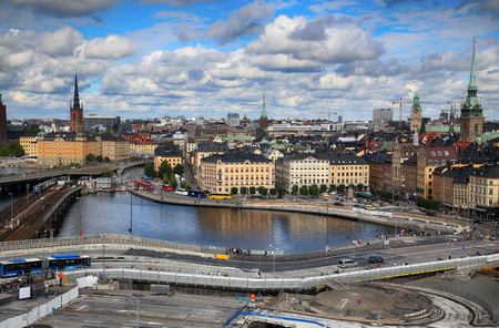 STOCKHOLM, SWEDEN - AUGUST 20, 2016: Aerial view of Stockholm from Great lookout point Katarinahissen built 1883. (Katarina Elevator) in Stockholm, Sweden on August 20, 2016.