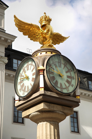 Klocka Central Plan, Clock with Crown next to the central train station in Stockholm, Sweden