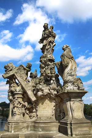 Statuary of the Madonna and St. Bernard on the Charles Bridge (Karluv Most) in Prague, Czech Republic