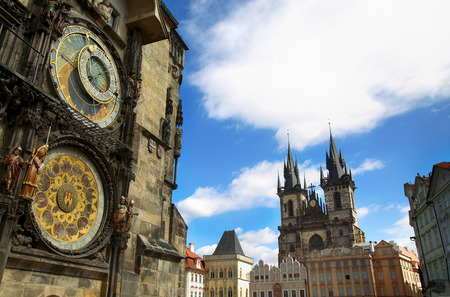 Famous Astronomical Clock Orloj and Church of our Lady Tyn in Prague, Czech Republic