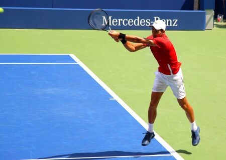 New York, USA – August 25, 2018:  Atmosphere about during Us Open Championship Kids Day (Arthur Ashe Kids Day) US Open champion Novak Djokovic on stadium Louis Armstrong in Flushing, New York, USA Editorial
