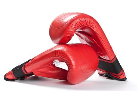 Red  boxing gloves on a white background, sports poster