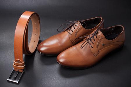 stylish leather mens dress shoes and belt.