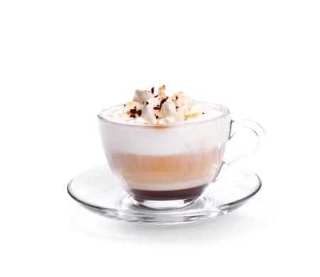 Een Latte Coffee Isoalted-koffiekop op wit
