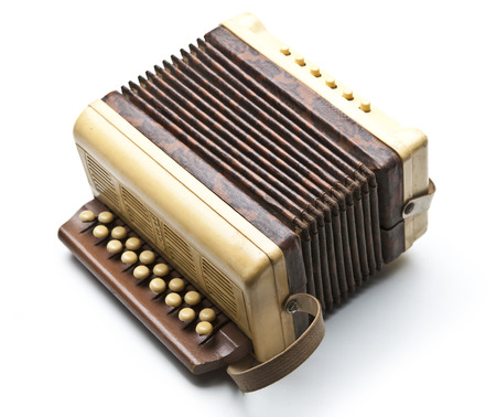 Small accordion isolated on white