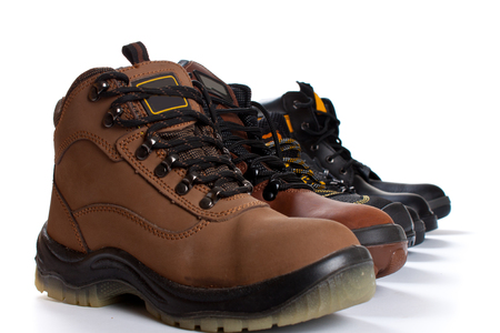 Work Boots isolated on white Stock Photo