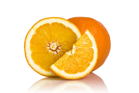 focus stacking: Studio shot of whole orange, cross section and a slice of an orange fruit isolated on white background. All in focus using focus stacking technique