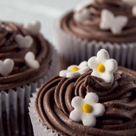 nicely: Multiple chocolate nicely decorated muffins on a wooden background