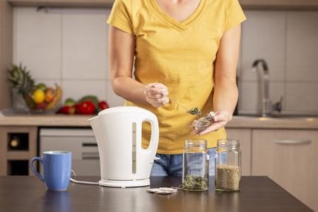 Woman making a cup of tea in the morning, adding a teaspoon of dried mint leaves into a tea container