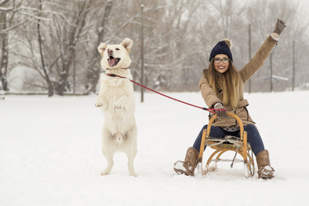 Young girl sitting on a sleigh and holding her dogs leash while dog is jumping in the snow next to the sleigh, having fun on a winter day in nature