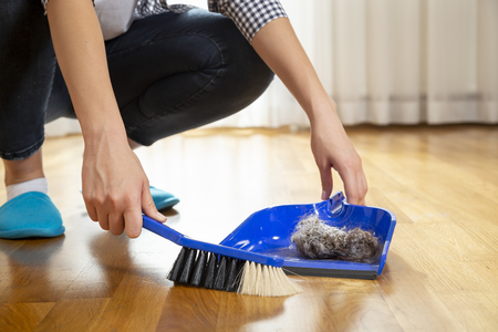Detail of female hands holding a broom and sweeping floor, collecting dust onto a dustpan Stock Photo