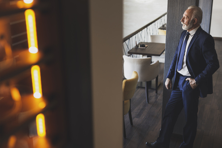 Portrait of a pensive, senior businessman standing in a modern office building restaurant, leaning on the wall and looking at the distance