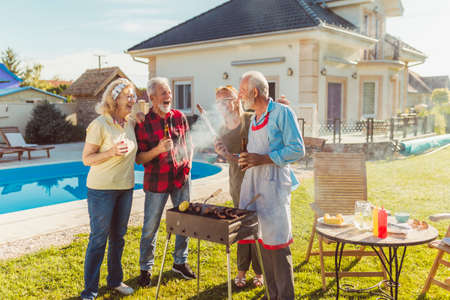 Senior neighbors having fun spending sunny summer day together outdoors, grilling meat and relaxing Banque d'images