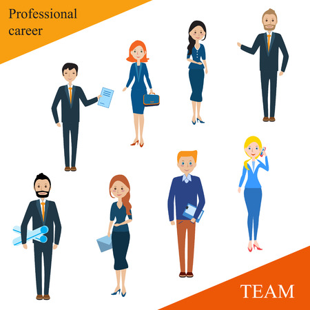 competent: Modern business people flat lines. Conceptual illustration of a professional team. Human resources. The close-knit team with a competent leader. Businessman. businesswoman.