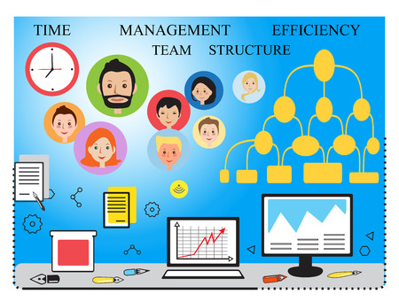 sleek: Modern vector business concept, team. Sleek lines vector illustration. Data analysis, statistics, financial studies and strategy. Stock Photo