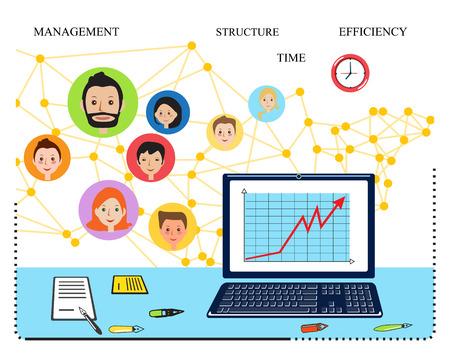 vector studies: Modern vector business concept, team. Sleek lines vector illustration. Data analysis, statistics, financial studies and strategy. Stock Photo