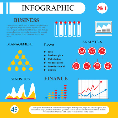 demonstrate: Infographics in flat style. Business processes and plan. The scheme for the management, graphs and tables. To demonstrate the working and learning process, site page brochure.