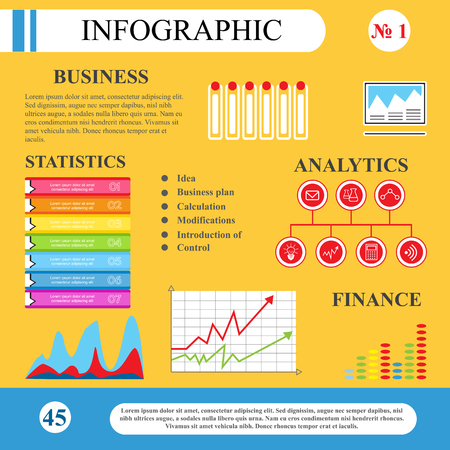 demonstrate: Business Infographics. Diagrams, tables, flat-style graphics. To demonstrate the working and learning process, resource, chart. web design, site page brochure. Illustration