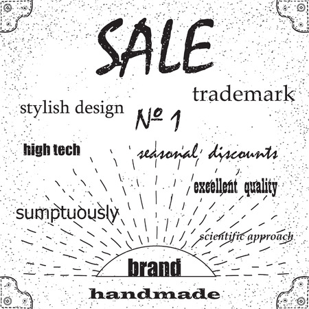 excellent quality: Brand, selling excellent quality stylish design, trademark or brochure. Vintage retro background.