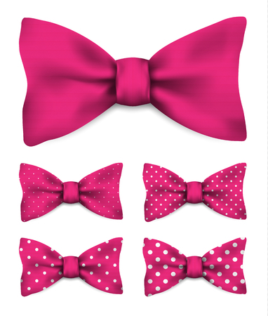 Pink bow tie with white dots realistic vector illustration set isolated on white background Illustration