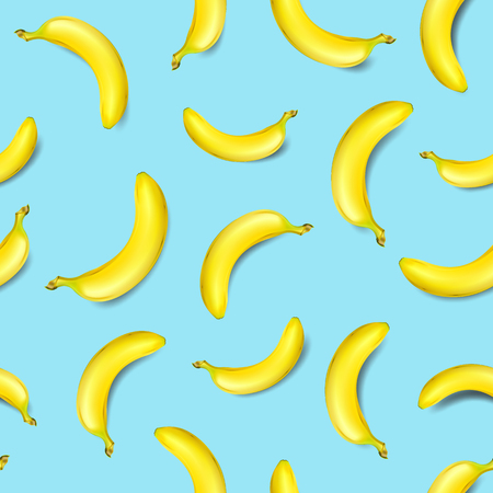 Seamless banana pattern on light blue background vector illustration Illustration