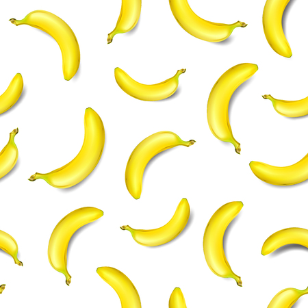 Seamless banana pattern isolated on white background vector illustration