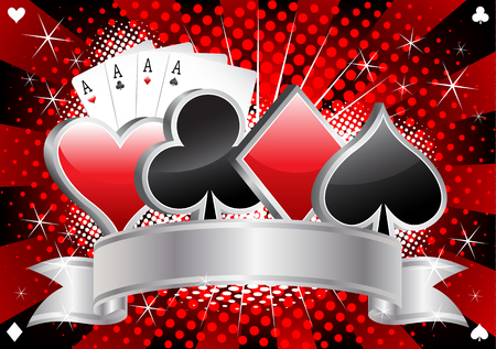 Casino banner with card suits, four aces and silver ribbon on red and black halftone background vector illustration Illustration