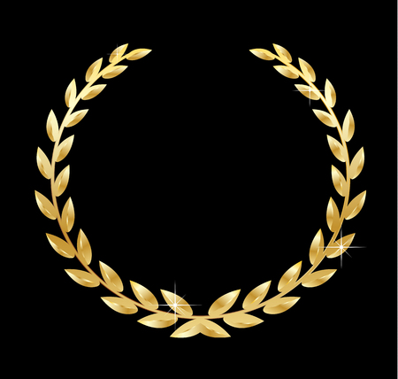 Golden laurel wreath vector illustration isolated on black background
