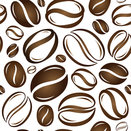 Coffe beans seamless patern vector illustration on white background