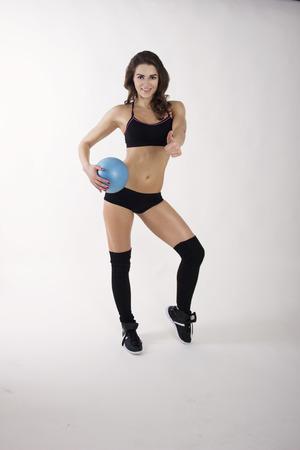 stodio: fitness girl with ball Stock Photo