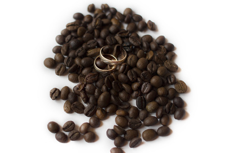 Wedding rings and coffee photo