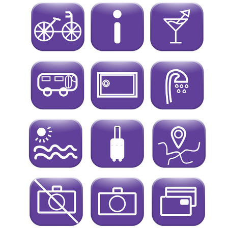 excursions: Travel and hotel icons Illustration