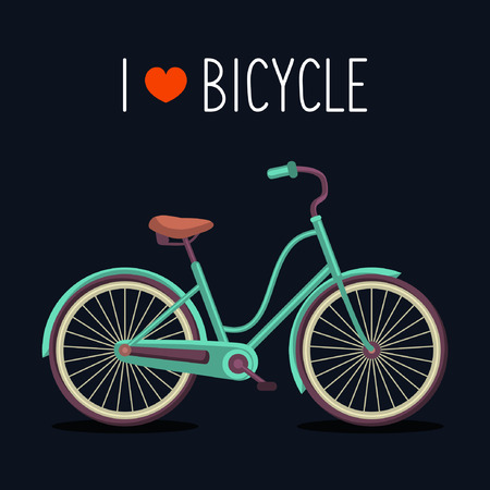Vector illustration of urban hipster bicycle in trendy flat style with text I Love Bicycle Vector