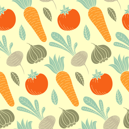 halm: Colorful vegetable vector seamless pattern with carrot, tomato, turnip, radish etc. Organic food hand drawn background.
