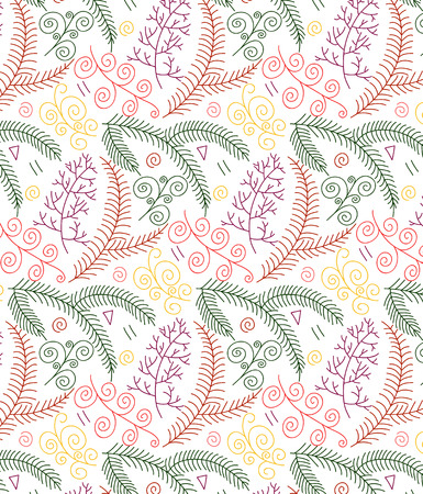 Branch vector seamless pattern. Forest abstract background. Floral hand drawn texture used for wallpaper, textile. Illustration