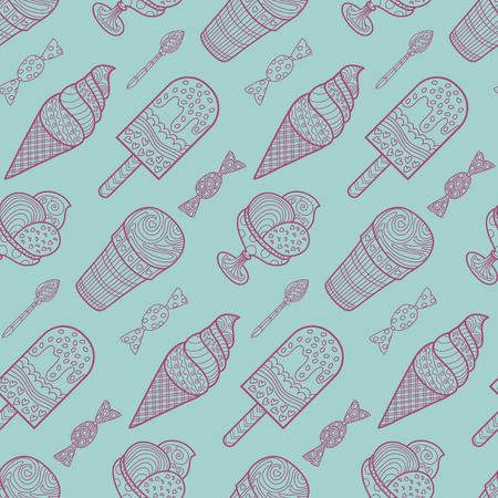 Seamless ice cream and candy background pattern in vector. Illustration
